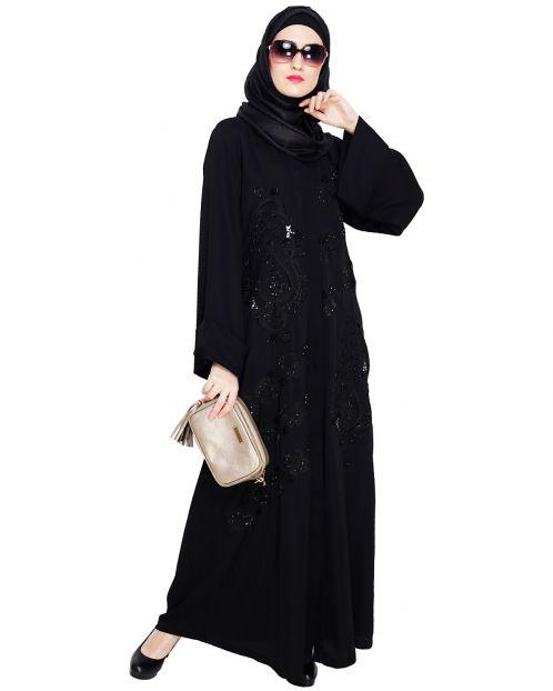 Regal Black Dubai Style Abaya