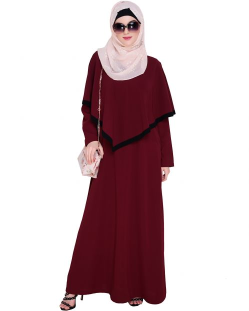 Wine Fancy Cape Abaya