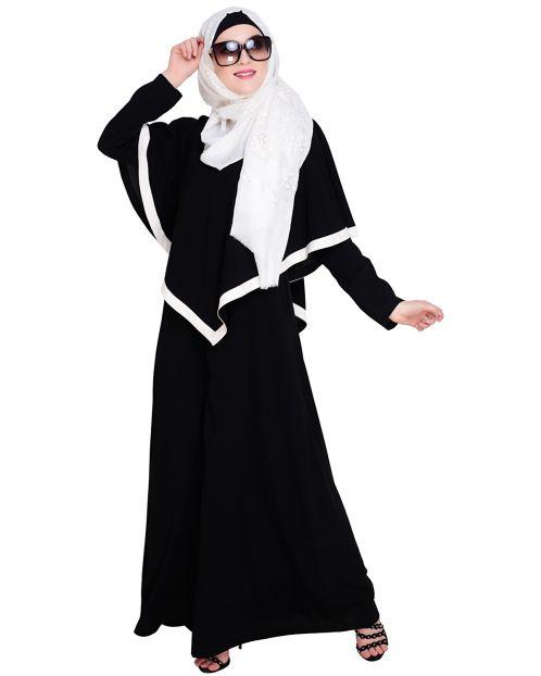 Black Fancy Cape Abaya