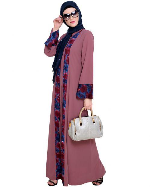 Jaunty Printed Oinion Pink Abaya