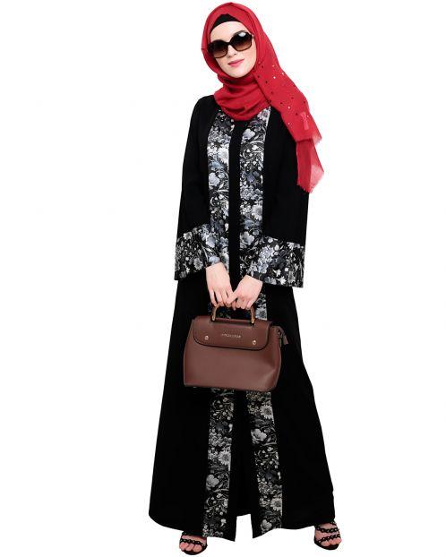 Jaunty Printed Black Abaya