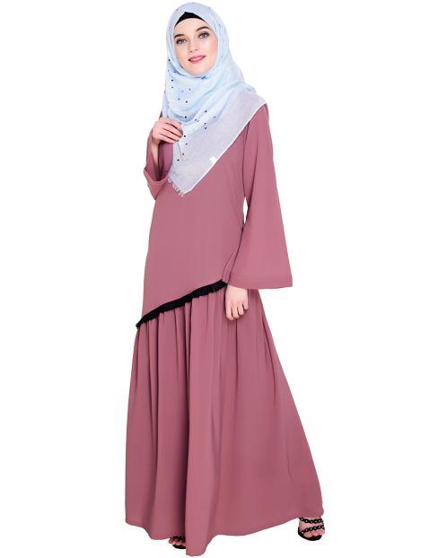 Fringe Lace Onion Pink Abaya
