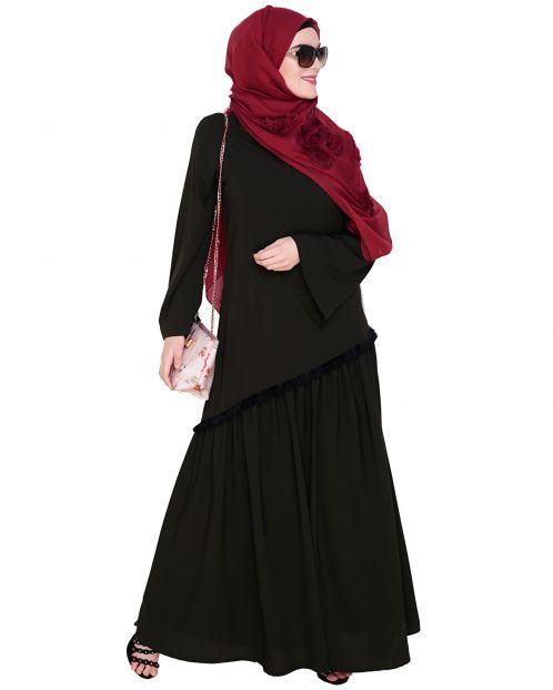 Fringe Lace Olive Abaya
