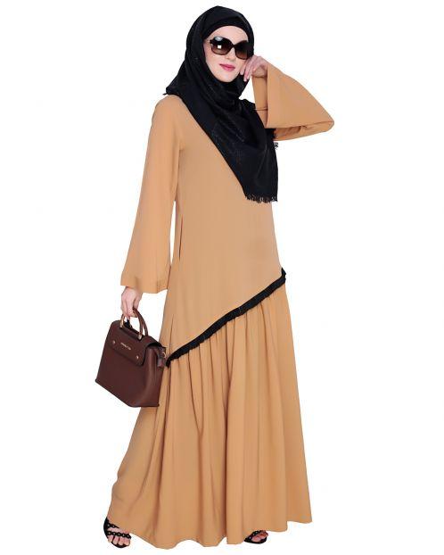 Fringe Lace Beige Abaya