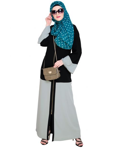 Dazzling Zip-Up Sage Green Abaya