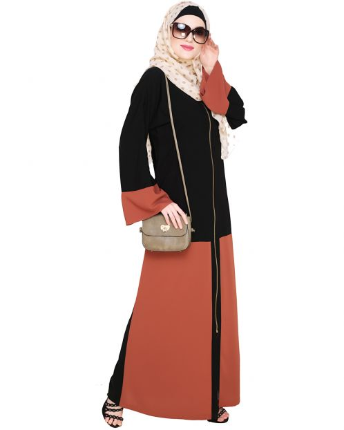 Dazzling Zip-Up Brick Red Abaya