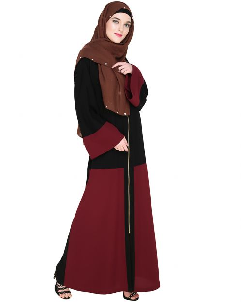 Dazzling Zip-Up Wine Abaya