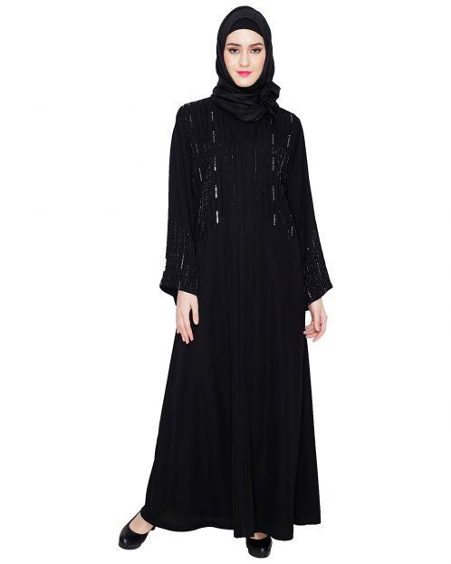 Multicolour Posh Stone Black Dubai Style Abaya