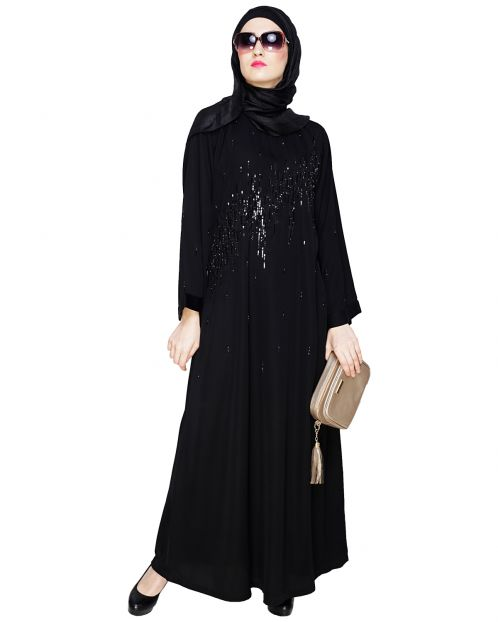 Stardust Black Dubai Style Abaya