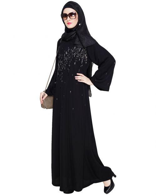 Multicolour Stardust Stone Black Dubai Style abaya