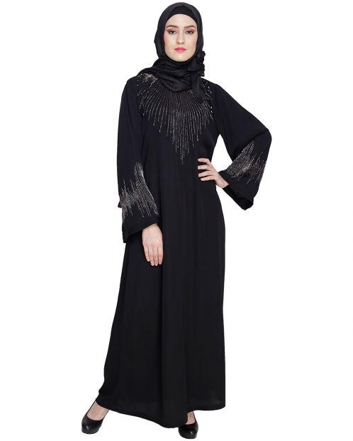 Ornate Black Dubai Style Abaya