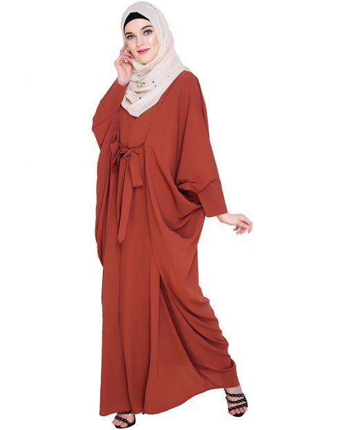 Bow Embellished Brick Red Kaftan