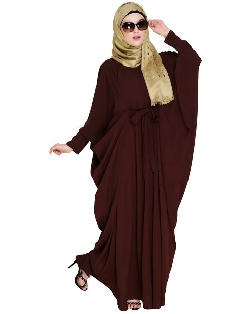 Bow Embellished Brown Kaftan