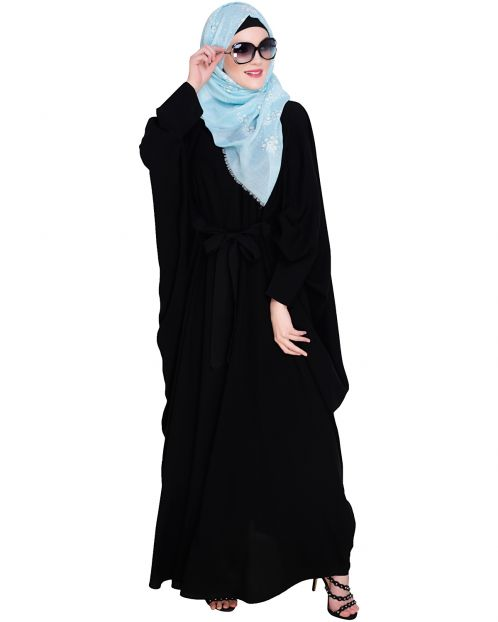 Bow Embellished Black Kaftan
