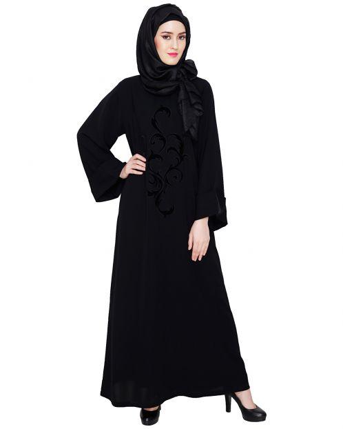 Plush Black Dubai Style Abaya