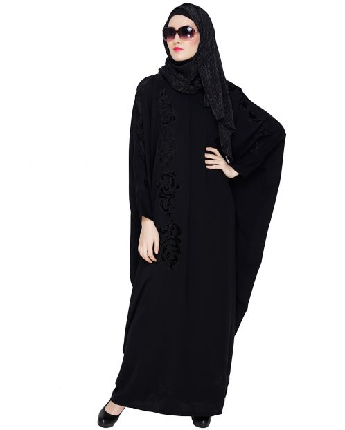Floral Applique Black Kaftan