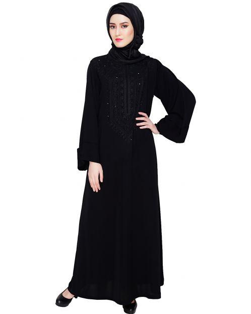 Floral Embellished Black Dubai Style Abaya