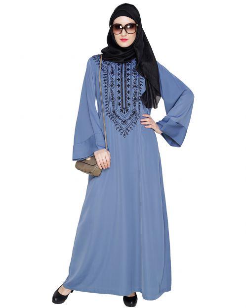 Floral Embellished Steel Blue Dubai Style Abaya