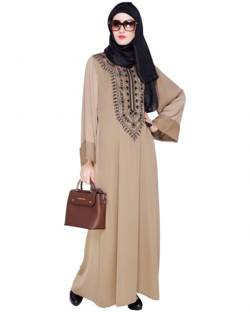 Floral Embellished Beige Dubai Style Abaya