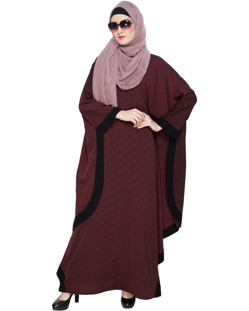 Wine Modish Colourblock Kaftan