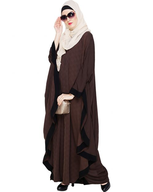 Dark Brown Modish Colourblock Kaftan