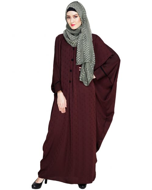 Graceful Pleated Dark Wine Kaftan