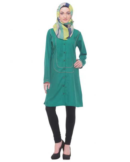 Semi-Formal Short Green Tunic