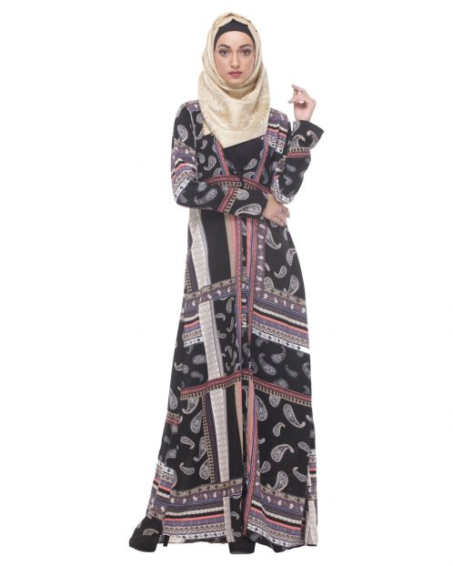 Paisley Printed Chic Black Abaya