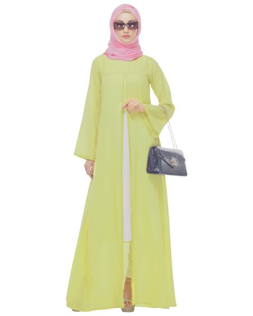 Pale Yellow Double-Layer Maxi Tunic