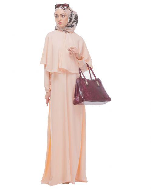 Soft Peach Caped Abaya