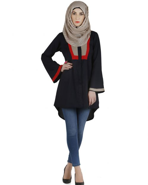 Umbrella sleeve navy combo top
