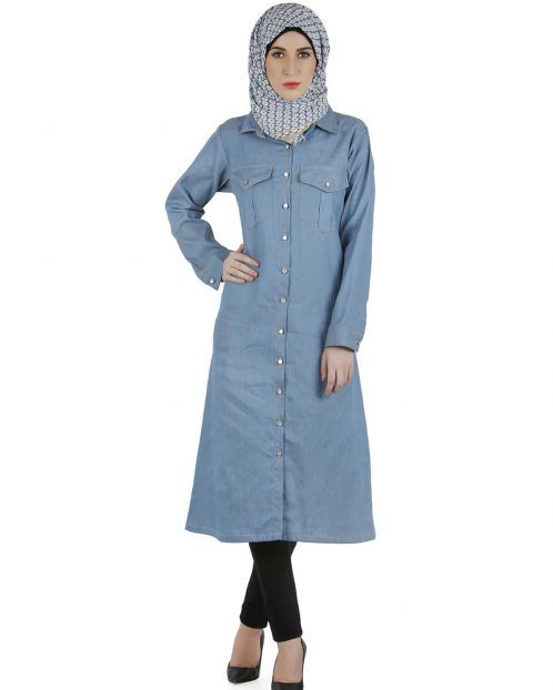 Long denim shirt dress