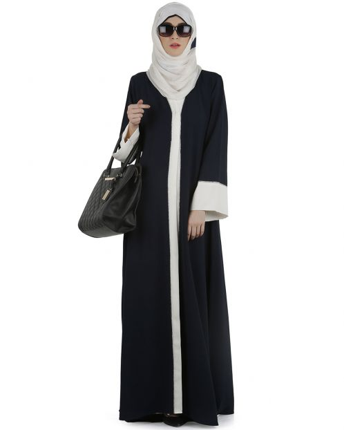 Dashing Navy and white abaya with swarovski lining