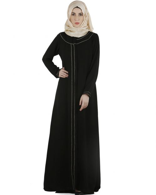 Popular Black gold zari Abaya