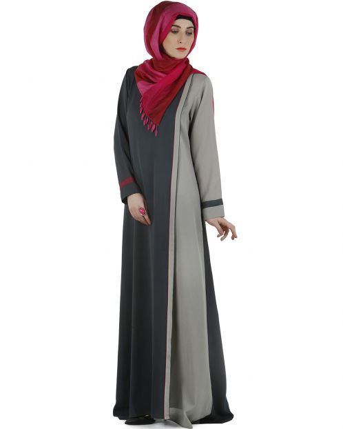 Stylish overlapped panel Abaya