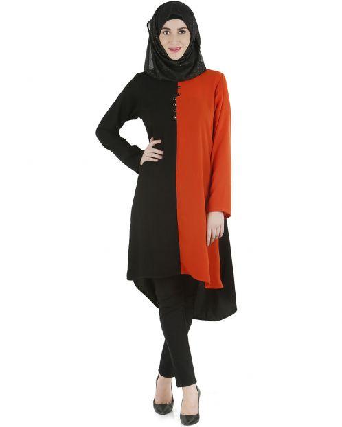 Black and orange color block tunic