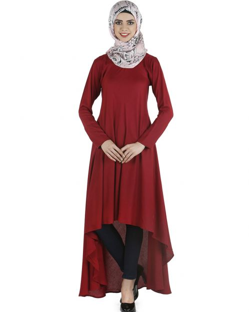Maroon contemporary long tunic