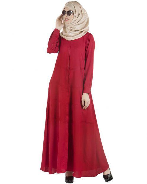 Maroon pintucks Abaya