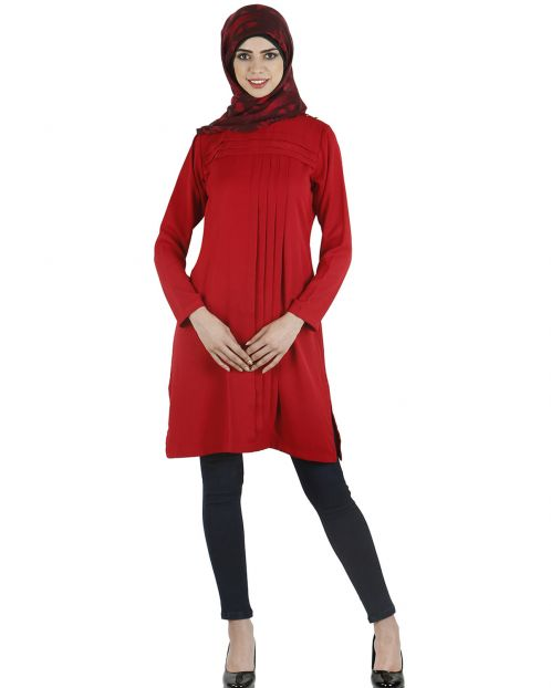 Warp & weft style pleated tunic