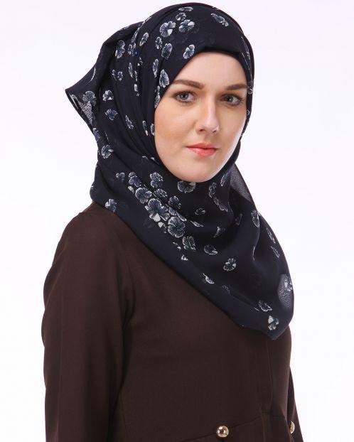 Black & White Floral Chiffon Hijab