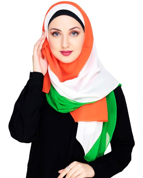 Tri Colour Instant Hijab with White Cap