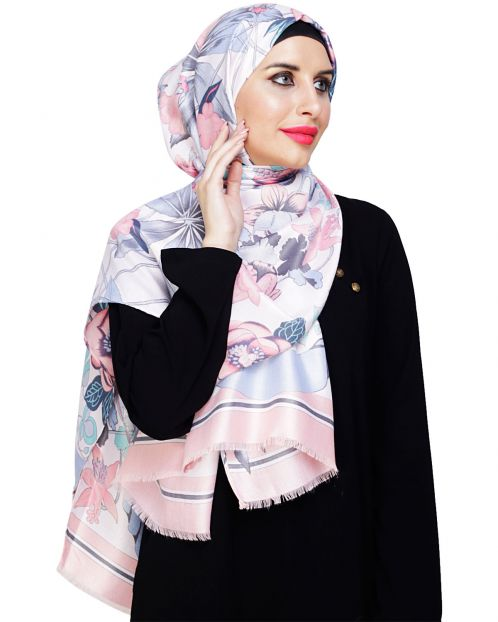 Summery Pink Floral Hijab