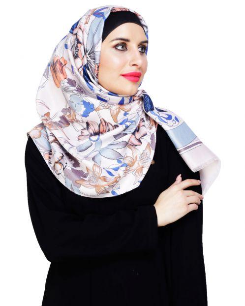 Summery Pale Lavender Floral Hijab