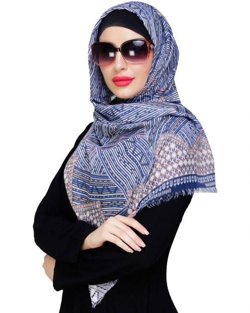 Multicolour Aztec Print Blue Hijab