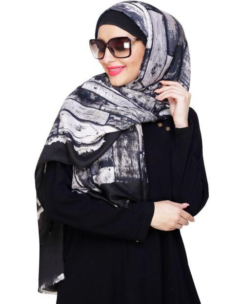 Woven Black Printed Hijab