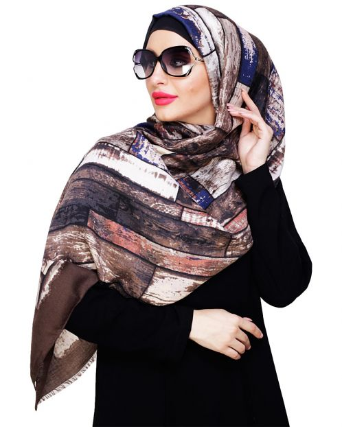 Woven Brown Printed Hijab