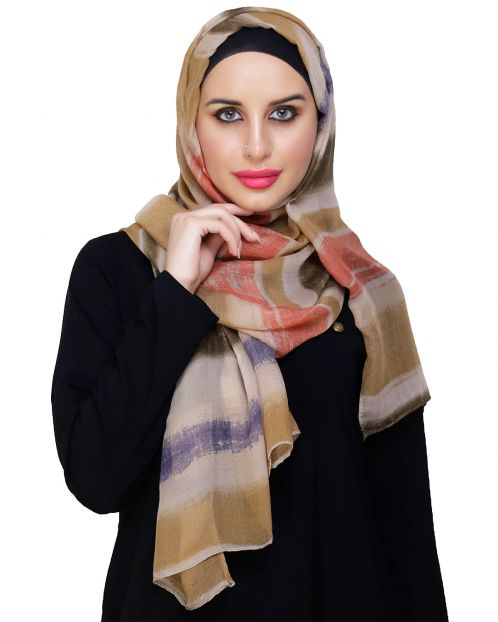 Mutlicolour striped ochre Hijab