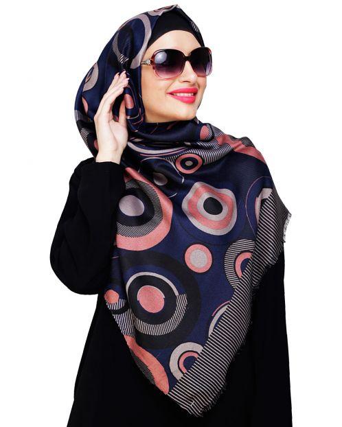 Artistic Circle Print Blue Hijab