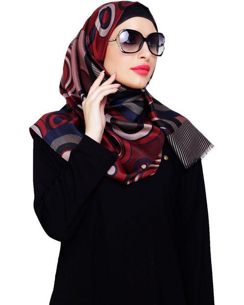 Artistic Circle Print Maroon Hijab