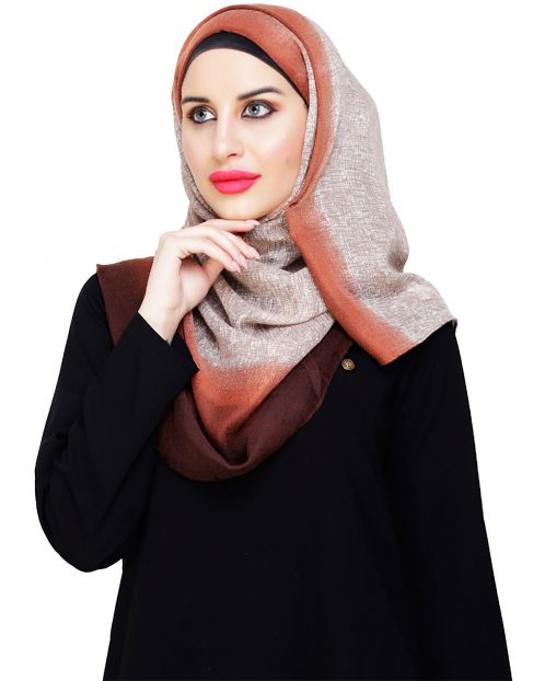 Chocolate Brown Ombre Printed Hijab